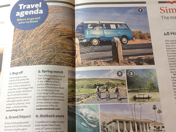 Mention of Camperbug in the Independent Travel section