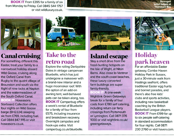 Prima Magazine Press piece for Camperbug about Hiring Bluebell