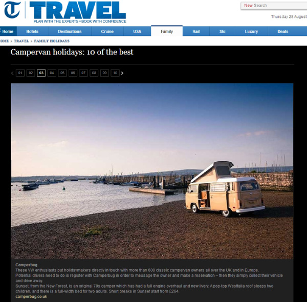 General Telegraph piece about Family holidays that mentioned Camperbug