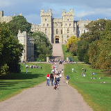 Windsor Castle and the Long Walk Looking up to the South Wing with the Edward III Tower to the left. Below is Turret House at the east end of Park Street.