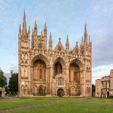 The exterior of Peterborough Cathedral in Cambridgeshire, England.
