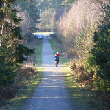 Hut Hill, Swinley Forest. Looking down the hill to the small car park next to the A3095. Only permit-holders are allowed to cycle in the forest.