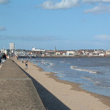 South Sands, Bridlington, East Riding of Yorkshire, England. View north towards the harbour.