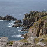 The granite coast at Land's End, the most westerly point of England, except for the Isles of Scilly (westernmost «mainland» point)