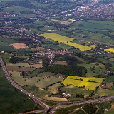 M25/M1 intersection, with Hemel Hempstead in the background (top-right corner), to the southwest.