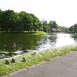 The main lake in Queens Park, Blackburn, Lancashire, England