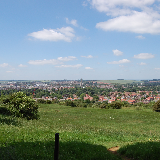 Grantham town centre as seen from the top of the hills and hollows with St. Wulfram's Church as the focal point.