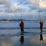 Fishermen & wind turbines from Blyth North Beach