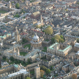 An aerial view of the old city centre of Oxford, England.
