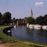 River Thames at Abingdon, en:Oxfordshire. Taken by D.J. Clayworth. St Helen's church is visible.