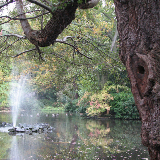 Nottingham Arboretum Lake and fountain on a quiet October afternoon.