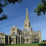 Salisbury Cathedral, Wiltshire, England, in early morning light. The cathedral has the tallest church spire in the UK. This is a photo of listed building number 1023581.