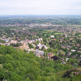 Great Malvern from the Hills. Looking down from a rocky outcrop on the side of Worcestershire Beacon.