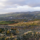 A view over Peebles, Borders, Scotland, from one of several access routes to nearby Cademuir Hill.