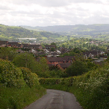 Lonesome Lane, Newtown, Powys A view over Barnfields Estate, from Lonesome Lane, Newtown, Powys