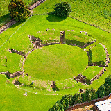 Aerial view of Caerleon Roman amphitheatre, Newport; looking South.