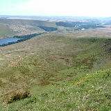 Taff Valley. Taken from Fan Fawr, it shows the Beacons Reservoir on the left, then further on it's the Cantref Reservoir and in the far distance there is Llwyn-On Reservoir.