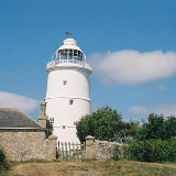St. Agnes: the lighthouse Right in the centre of St. Agnes is this lighthouse, now a private dwelling.