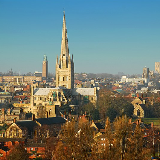 Skyline of Norwich, showing the city's two cathedrals