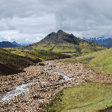 Landscape as seen from Laugavegur hiking trail, Iceland. Grashagakvisl River in the front.