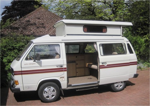 A VW T3 Campervan called Dormi and 6 Side view with roof up 1 for hire in bracknell, Berkshire
