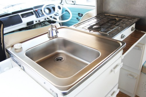 The kitchen - pump the tap for cold water and get the kettle on the gas hob...