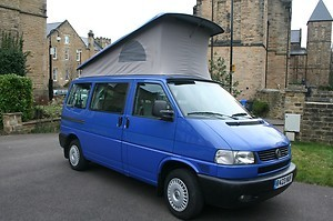 A VW T4 California Campervan called VwWestfalia and A complete look at the van, with an elevated roof. for hire in sheffield, South Yorkshire
