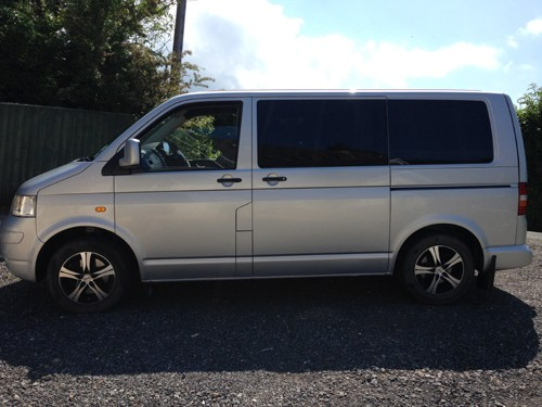 A VW T5 Campervan called T5Silver and t5 silver for hire in haverfordwest, Pembrokeshire
