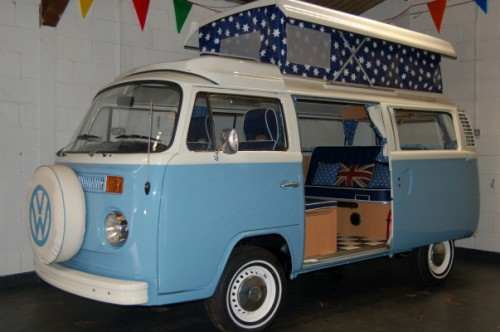 A VW T2 Classic Campervan called Blue_sky and Starry Pop top with a bed for the children. for hire in hunstanton, Norfolk