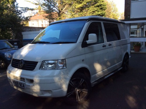 A VW T5 Campervan called Lowenna and WhiteT5 for hire in poole, Dorset