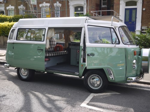 A VW T2 Brazilian Campervan called Viv and Portrait of Viv, her best side! for hire in London, London