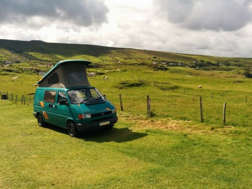 A VW T4 Campervan called SuperFresh and In a field in Ireland for hire in fetcham, Bedfordshire