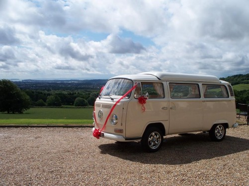 A VW T2 Classic Campervan called Bonnie and Your choice of ribbon and bow colours to compliment your wedding colours. All complimentary. for hire in Exeter, Devon