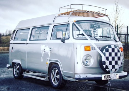 A VW T2 Classic Campervan called Pedro and Pedro on wedding duty. for hire in warrington, Lancashire