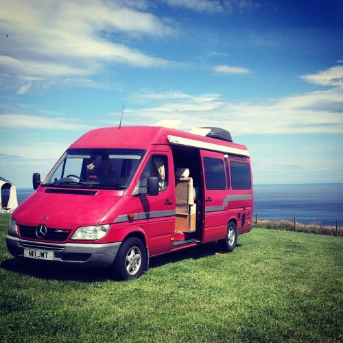 A Mercedes Sprinter Campervan called Luna2hire and Luna on Sea for hire