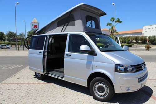 A VW T5 Campervan called SilverT5 and Silver with Pop Top for hire in faro, Portugal