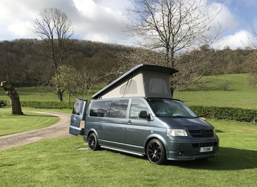A VW T5 Campervan called Scoobyvan and Scooby with Pop for hire in lichfield, Staffordshire
