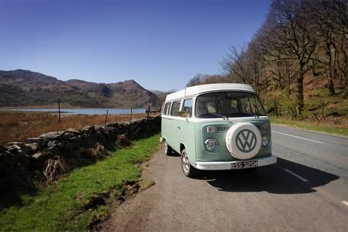 A VW T2 Classic Campervan called Enlli and Bessie by Llyn Dinas in Snowdonia for hire in garndolbenmaen, Gwynedd