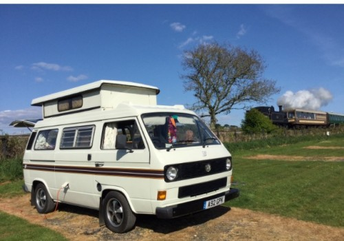 A VW T3 Campervan called The-Frank and Frank at the railway for hire in gillingham, Dorset