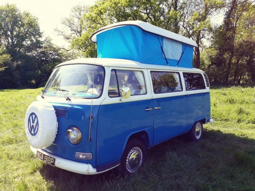 A VW T2 Classic Campervan called Heston and Heston on campsite for hire in brighton, East Sussex