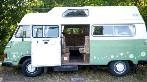A Mercedes Campervan called Manny and Side door open for hire in carlise, Cumbria