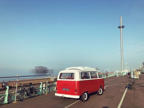 A VW T2 Classic Campervan called MaggieT2 and Looking out at Brighton's West Pier for hire in hove, East Sussex