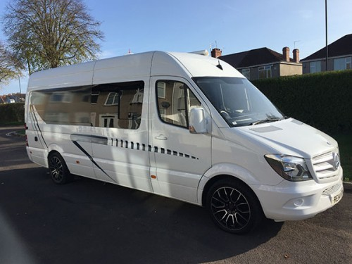 A Mercedes Sprinter Campervan called Alyssa and Alyssa Side View for hire