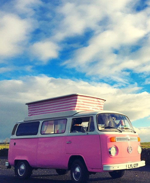 A VW T2 Classic Campervan called Lyli-Pink and On the road for hire in darlington, Tyne and Wear