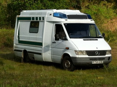 A Mercedes Campervan called Glambulance and Glammy... for hire in plymouth, Devon