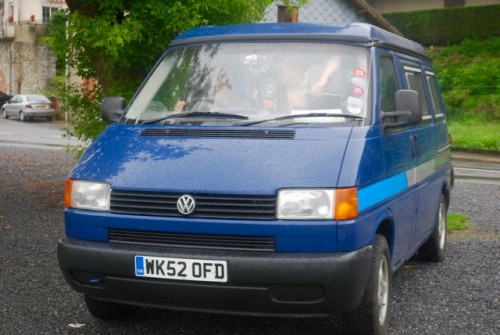 A VW T4 Campervan called BigBlue and Big Blue Front view for hire in teignmouth, Devon