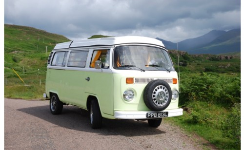 A VW T2 Classic Campervan called Jasmine and Jasmine on the road for hire in strathaven, Glasgow