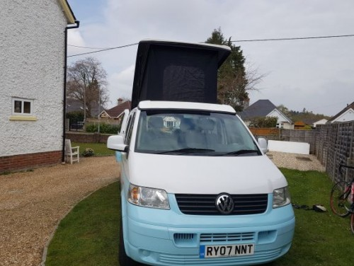 A VW T5 Campervan called peter-pan and PETER PAN for hire in wimborne, Dorset