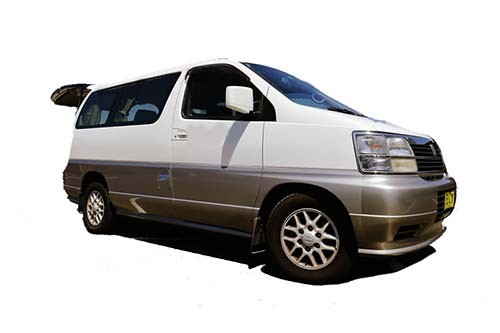 A Nissan Campervan called Elgrand and Elgrand for hire