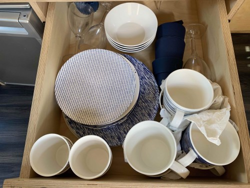 Crockery and cutlery for 4